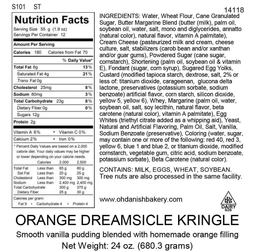Nutritional Label for Orange Dreamsicle Kringle