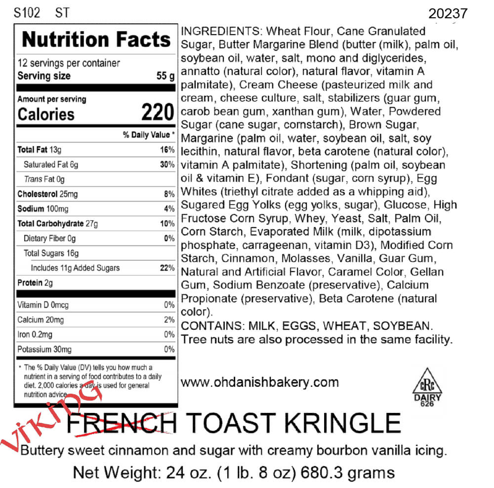 Nutritional Label for Viking Toast Kringle