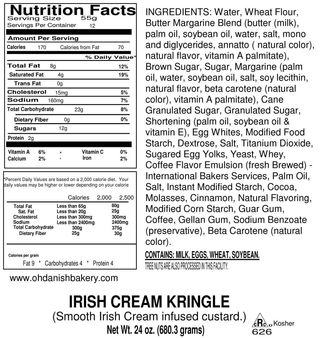 Nutritional Label for Irish Cream Kringle