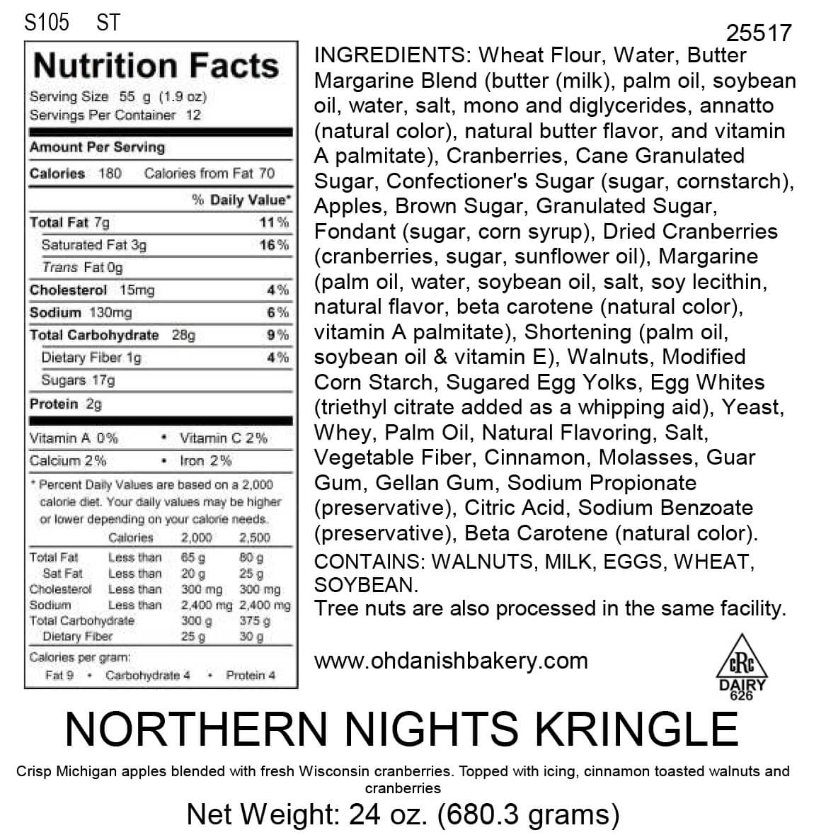 Nutritional Label for Northern Nights Kringle