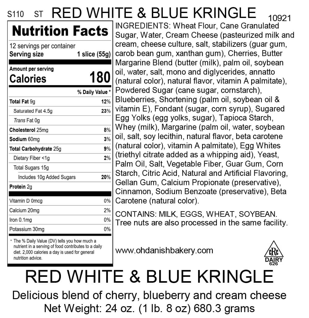 Nutritional Label for Red, White, and Blue Kringle