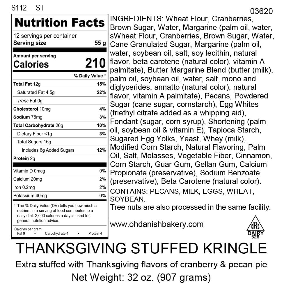Nutritional Label for Thanksgiving