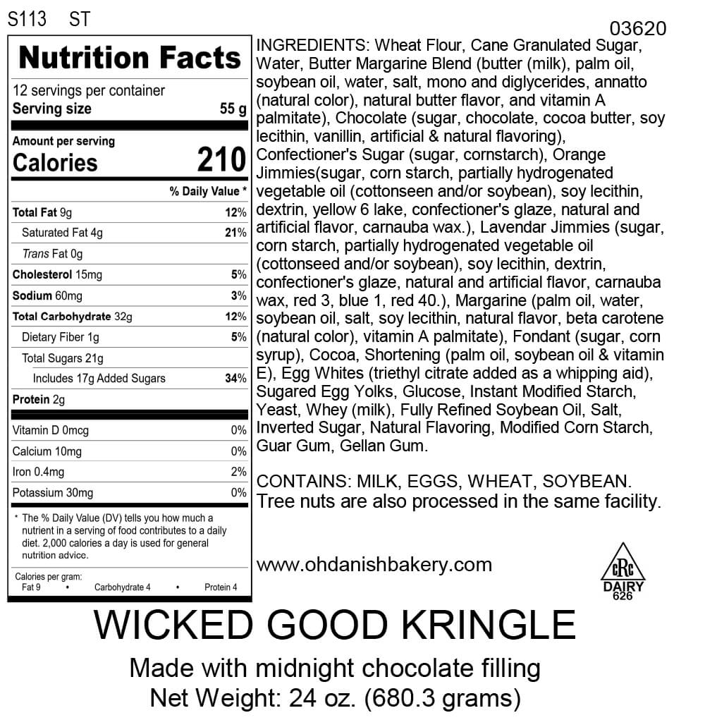 Nutritional Label for Wicked Good Kringle