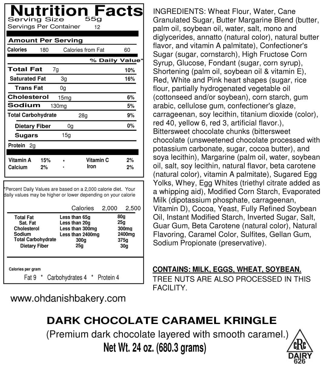 Nutritional Label for Dark Chocolate Caramel Kringle