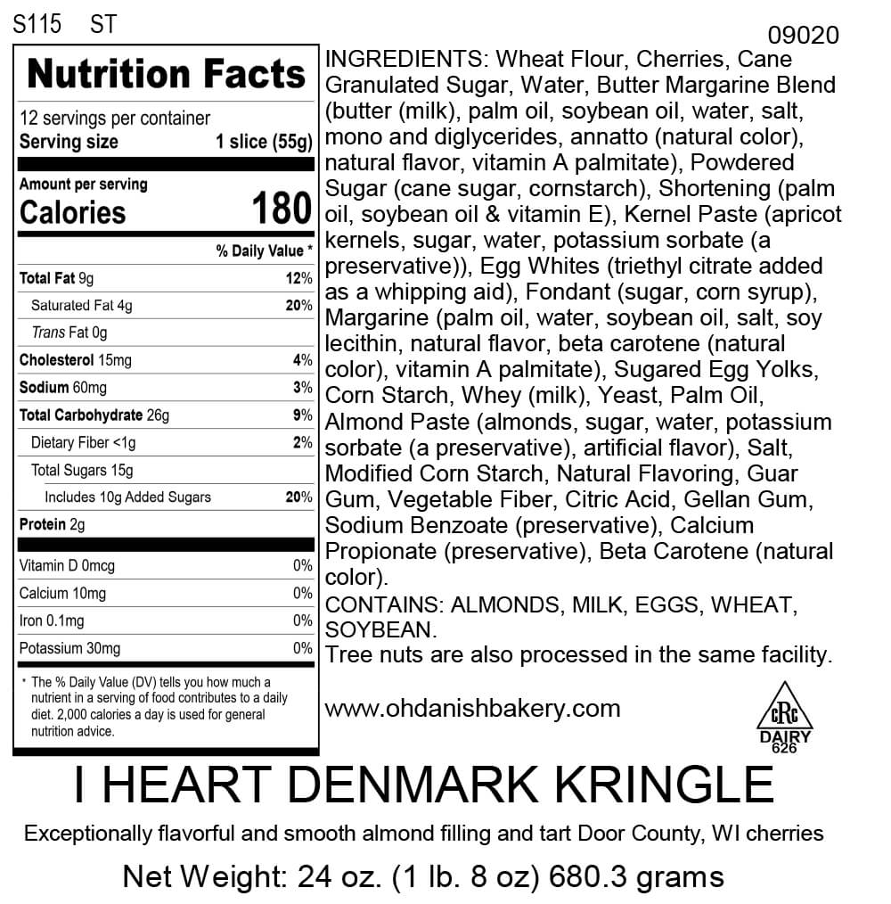 Nutritional Label for I Heart Denmark Kringle