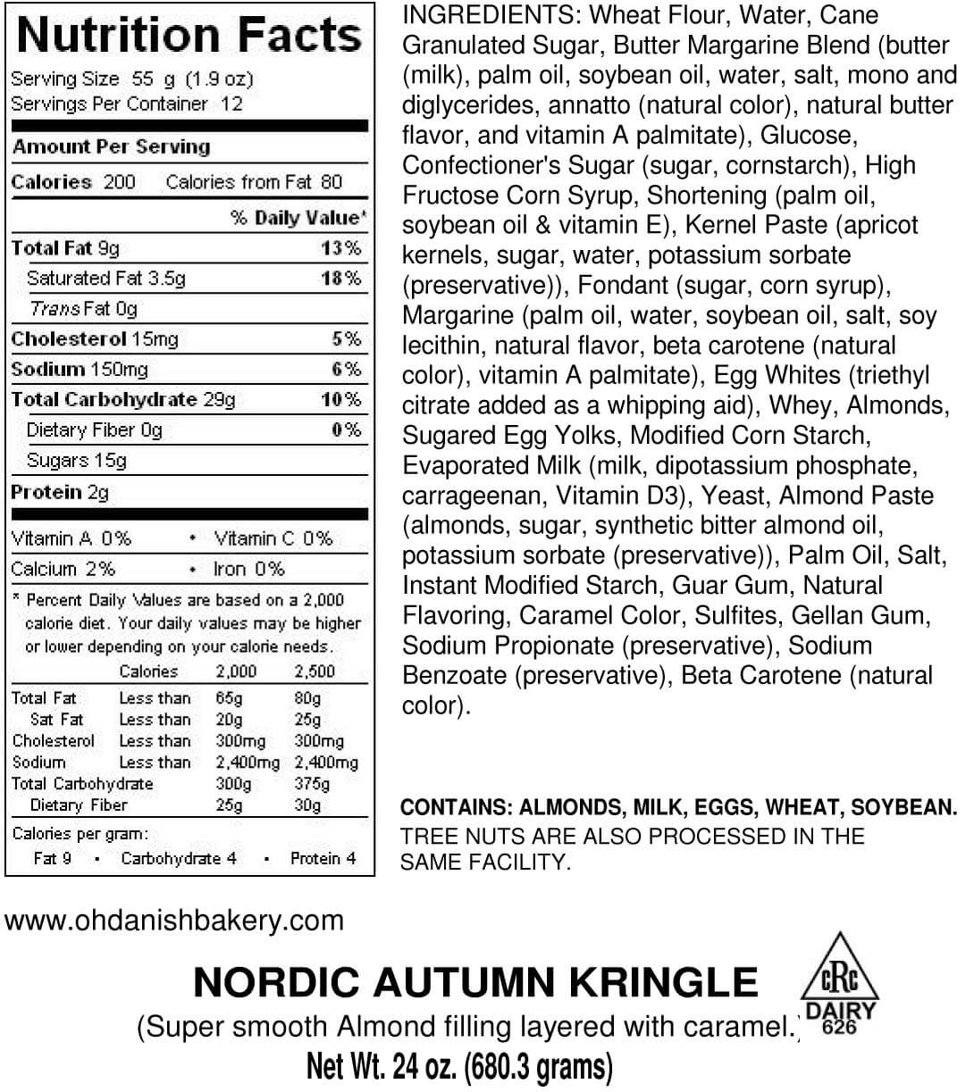 Nutritional Label for Nordic Autumn Kringle