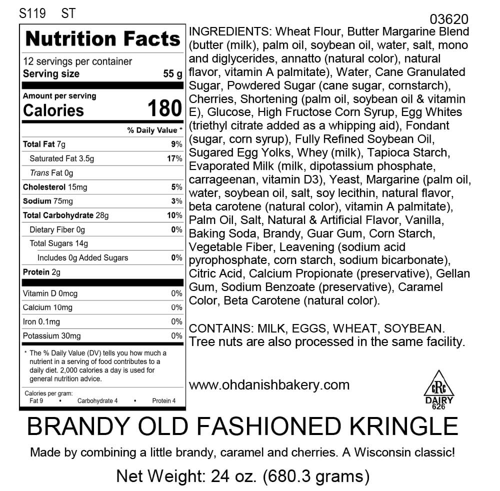 Nutritional Label for Brandy Old Fashioned Kringle