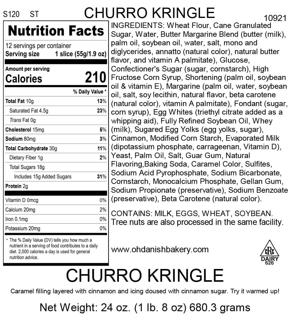Nutritional Label for Churro Kringle