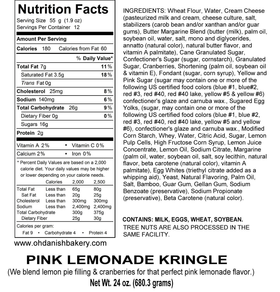 Nutritional Label for Pink Lemonade Kringle
