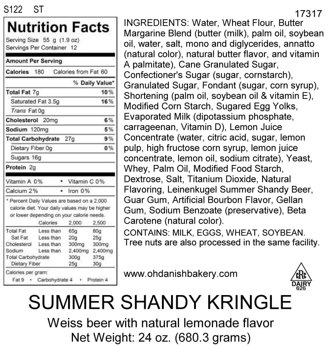 Nutritional Label for Summer Shandy Kringle