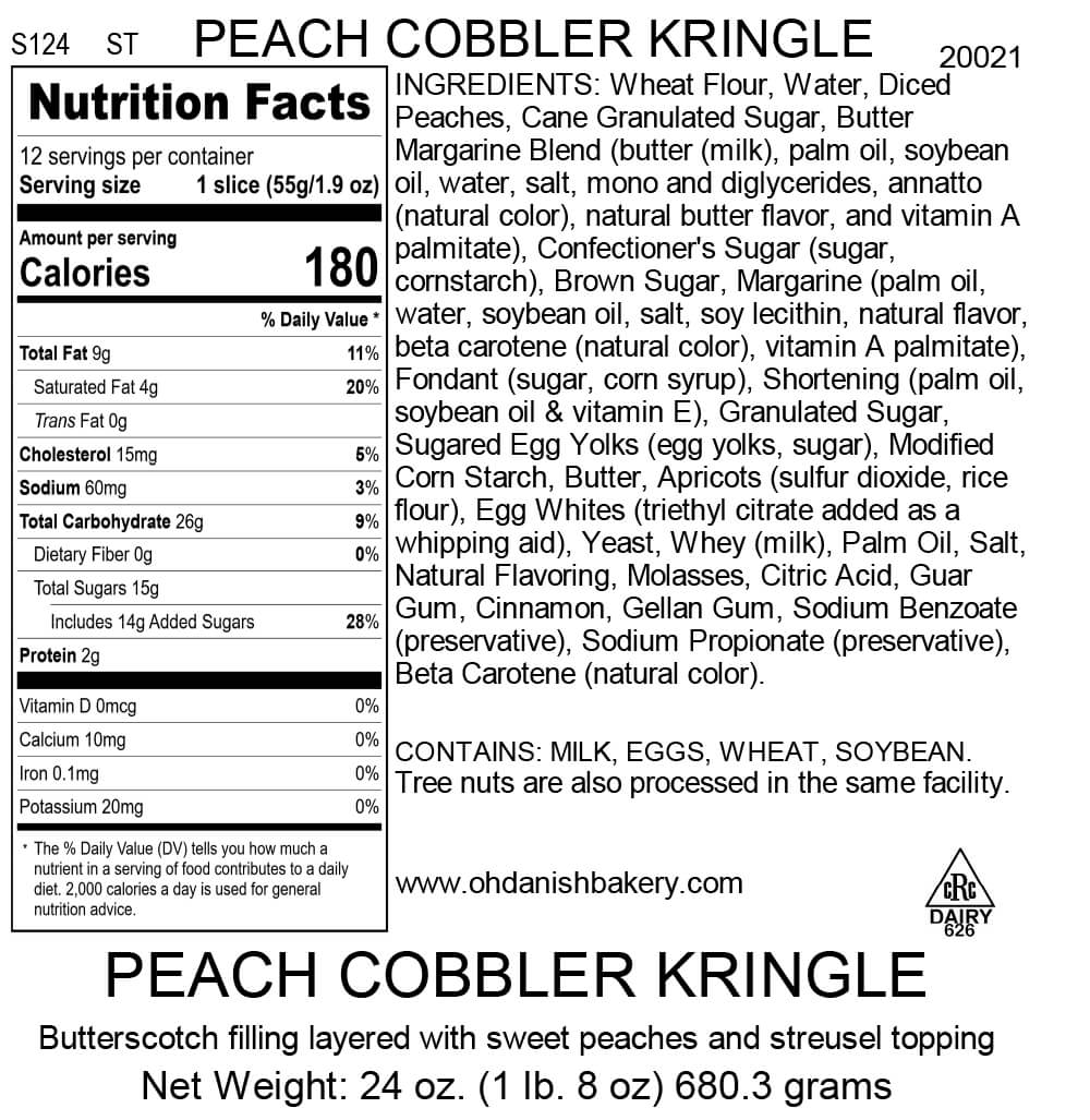 Nutritional Label for Peach Cobbler Kringle