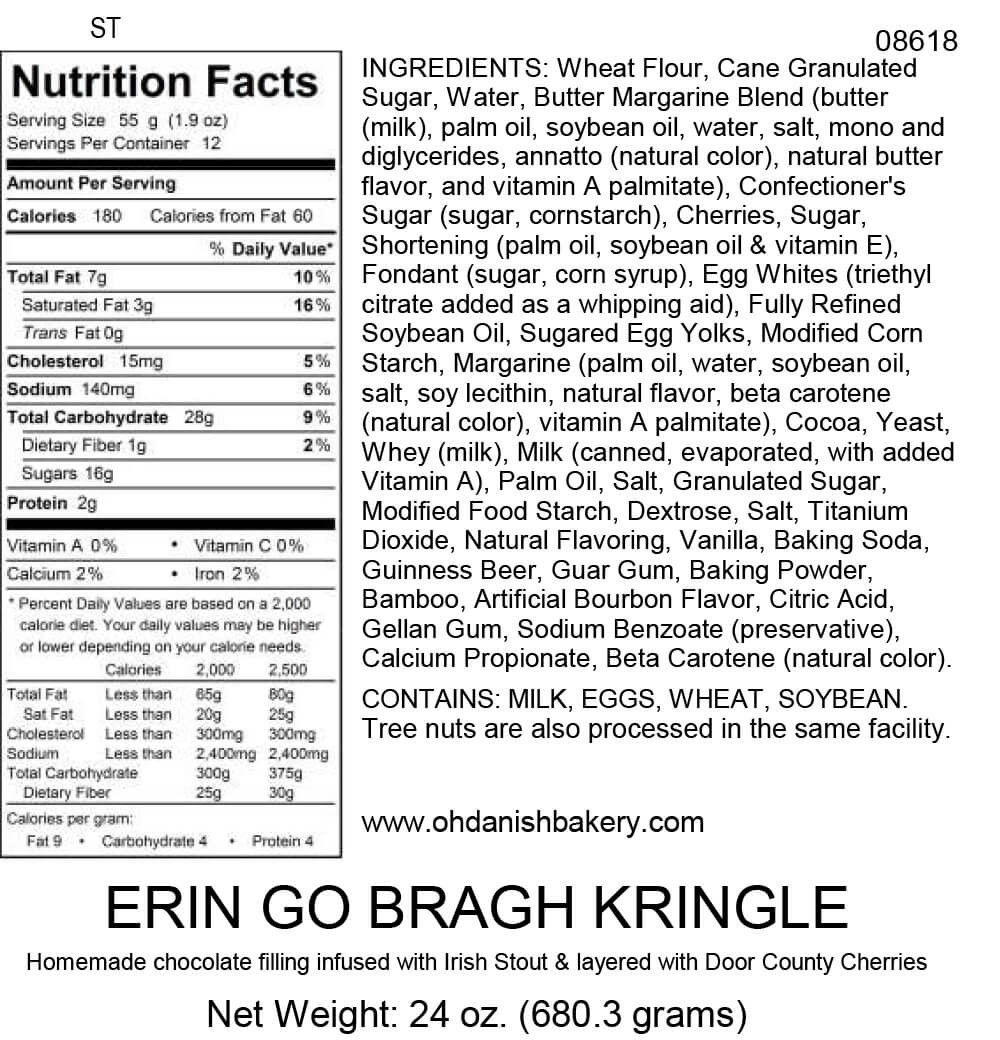 Nutritional Label for Erin Go Bragh Kringle