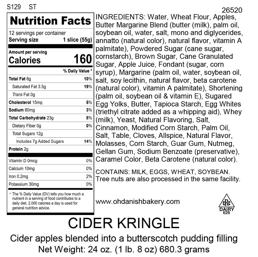 Nutritional Label for Cider Kringle