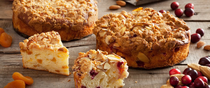Gluten-Free Cranberry Almond/Apricot Coffee Cakes