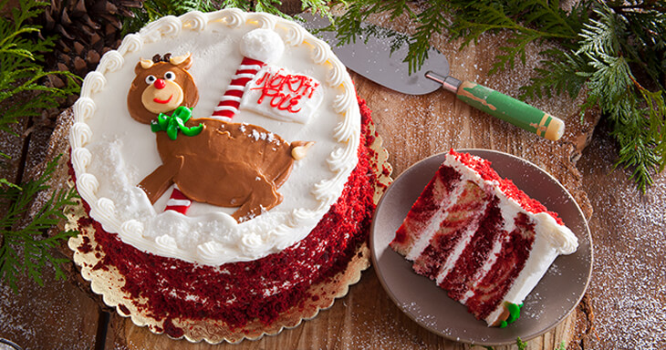 Item #: 480 - Rudolph's Red Velvet Marble Layer Cake